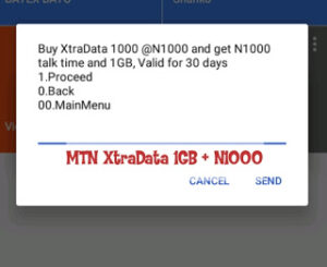 Get 1GB plus N1000 on MTN XtraData