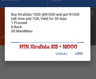 Get 1GB plus N1000 on MTN XtraData
