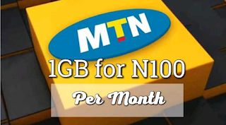 MTN 1GB for N100 monthly data plan 1